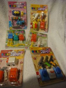 Color Gomiz novelty erasers carded packs  vehicles.